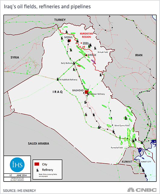 Crude oil prices How the collapse of Iraq could actually save oil – Map of Iraqi Oil Fields