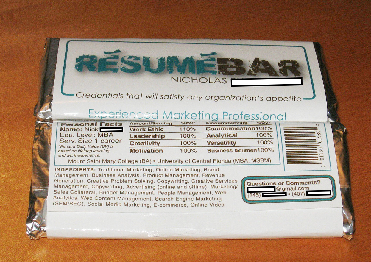 resume Resume Bar chocolate bar resume takes internet by storm