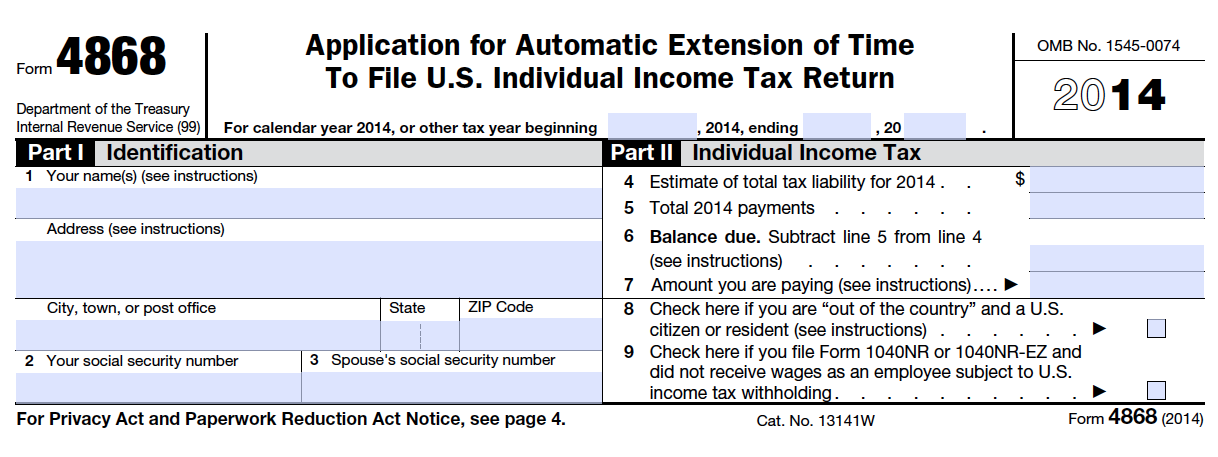 Income tax filing extension