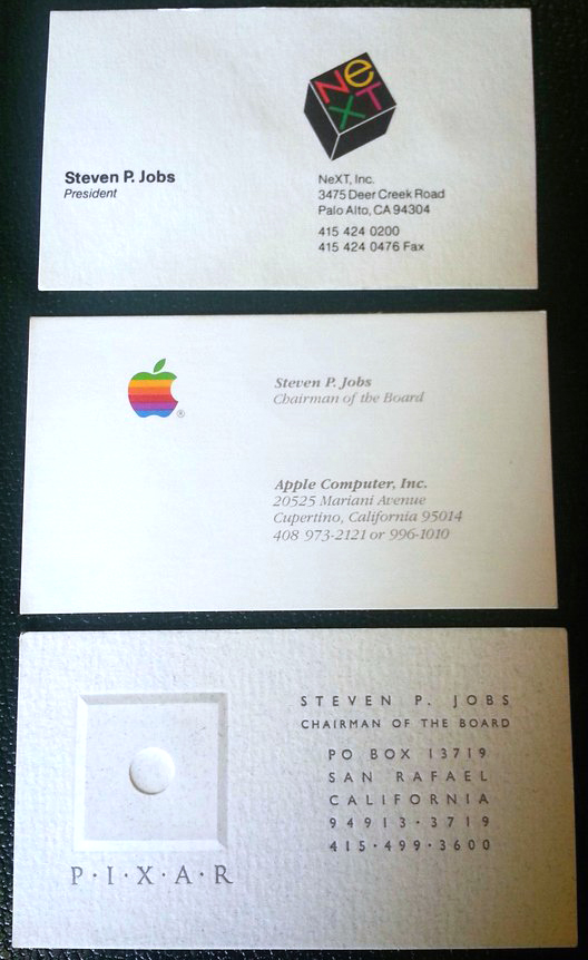 Steve jobs old business cards sell for 10500 reheart Choice Image