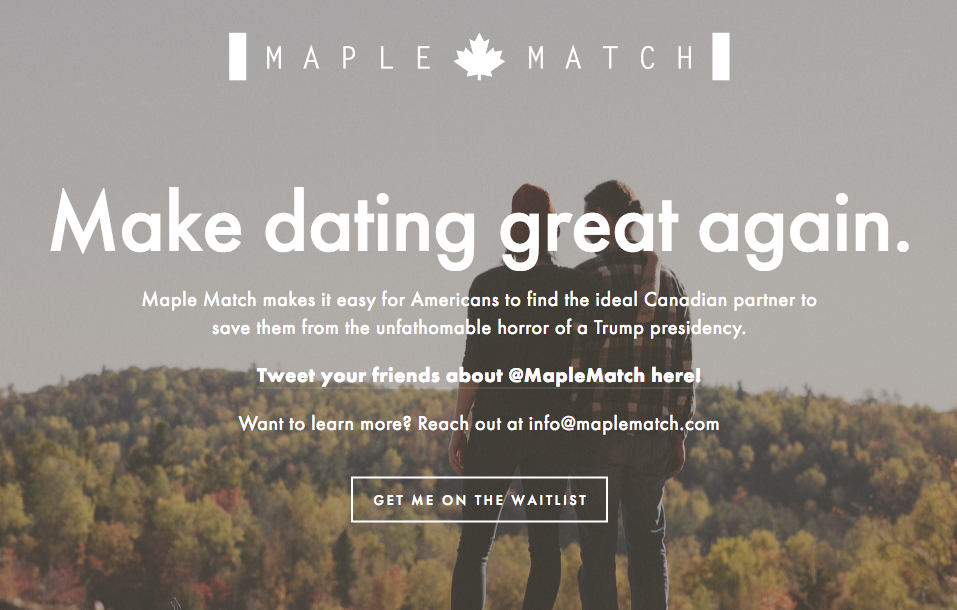Canadian Dating Site Targets Anti-Trump Crowd Seeking to Flee US