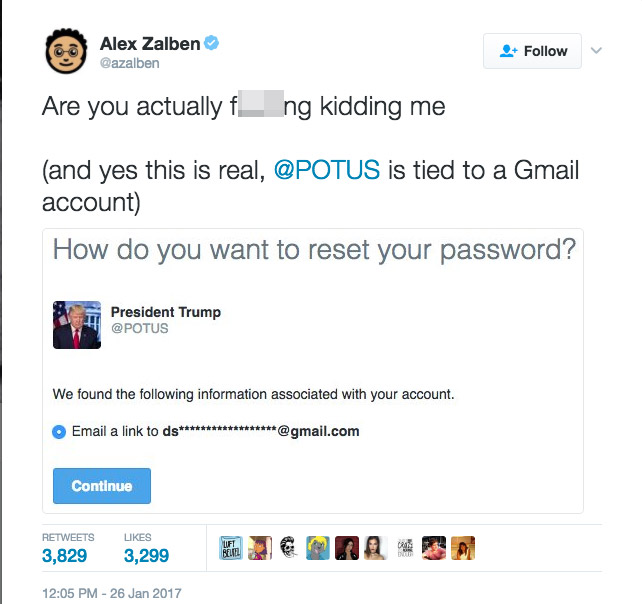 President Trump Twitter Appears Linked To Gmail Account