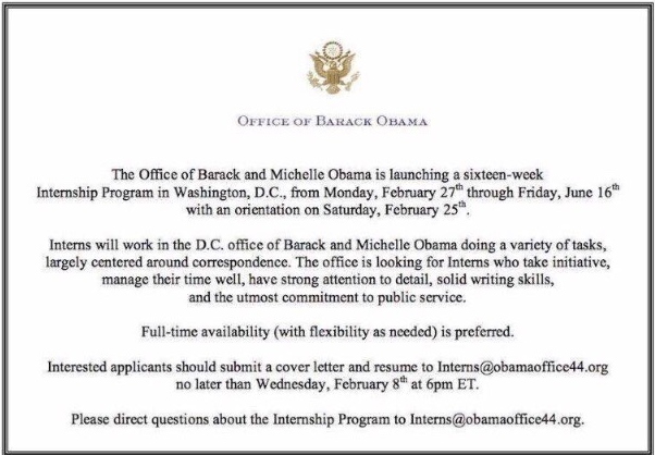 barack and michelle obama offer internships for their dc office obama has said he plans to take retreats and vacations his family which included a kite surfing session richard branson