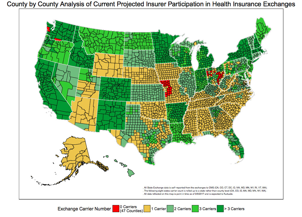 More Americans Will Be Without Obamacare Insurance Options Next Year As More Carriers Pull Out