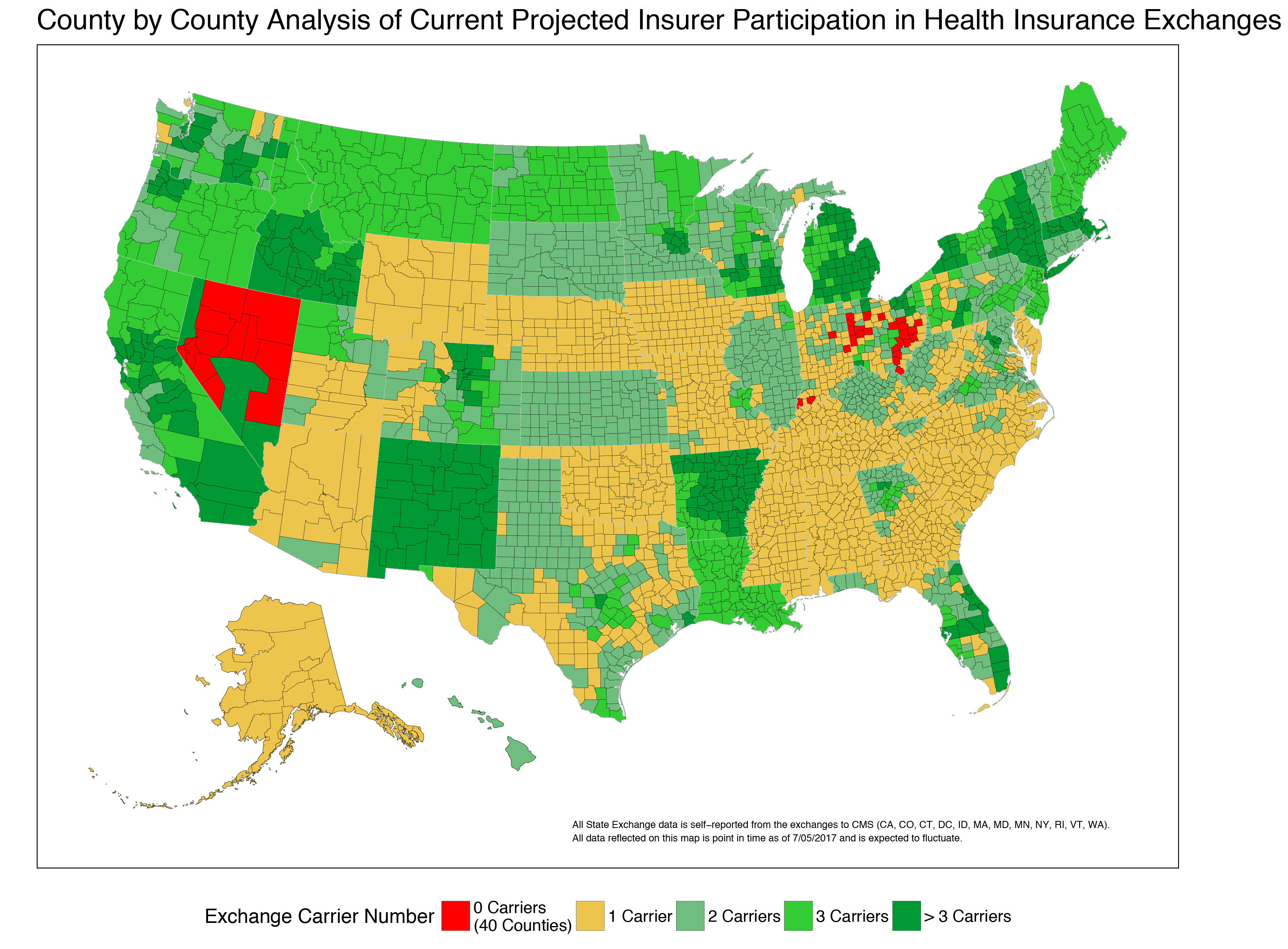 That Map Shows Projections For The Level Of Insurer Parion On Obamacare Exchanges And Is Based On Public Announcement By Insurers Of Their Intentions