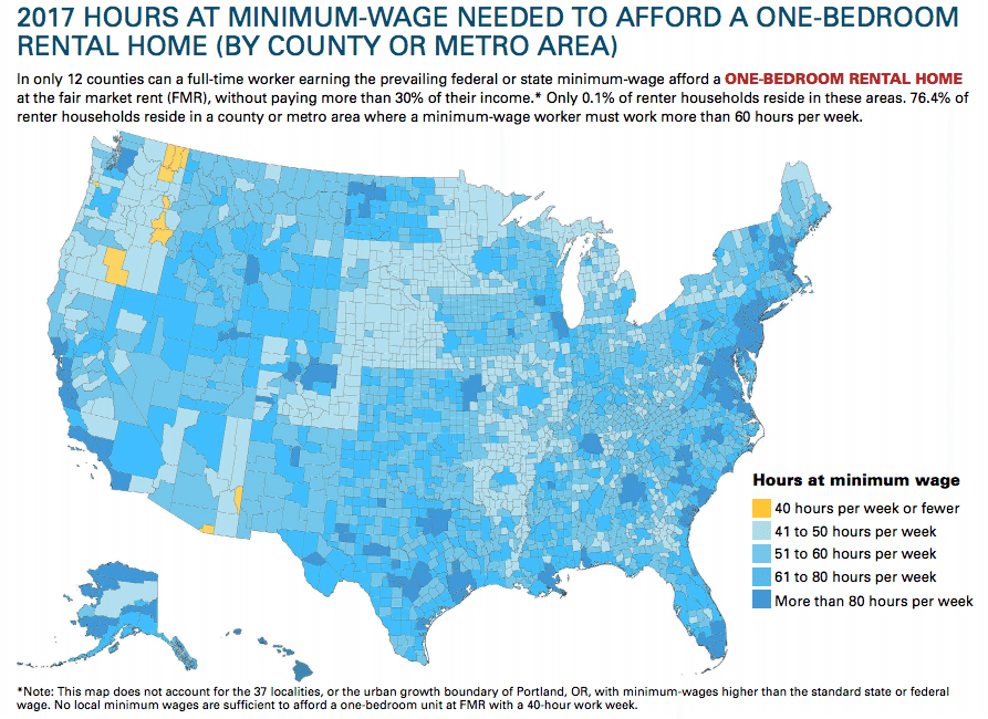 Percent Of Renter Households Reside In A County Or Metro Area Where It Takes More Than 60 Hours Per Week Of Full Time Minimum Wage Work To Reasonably