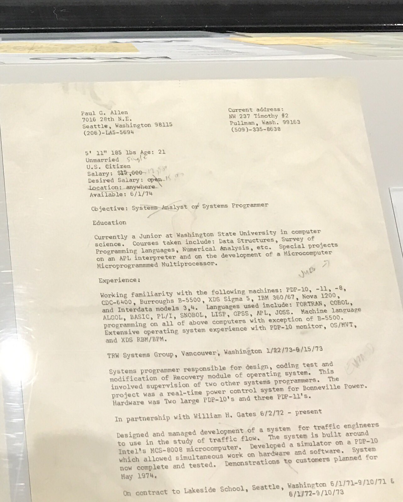 This is Bill Gates' resume from 1974—when he was making