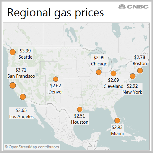Heres What Drivers Are Paying For Gas Across The United States - Gas-prices-us-map