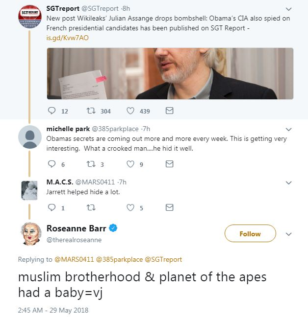 Roseanne Apologizes For Planet Of The Apes Tweet About Obama Aide
