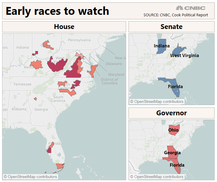 Midterm news: Early election results to watch in the battle for Congress